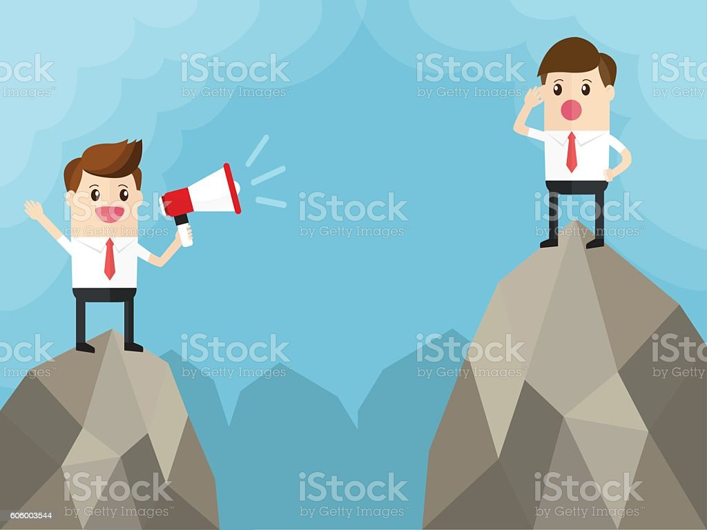 two businessman standing on top of mountain. vector art illustration