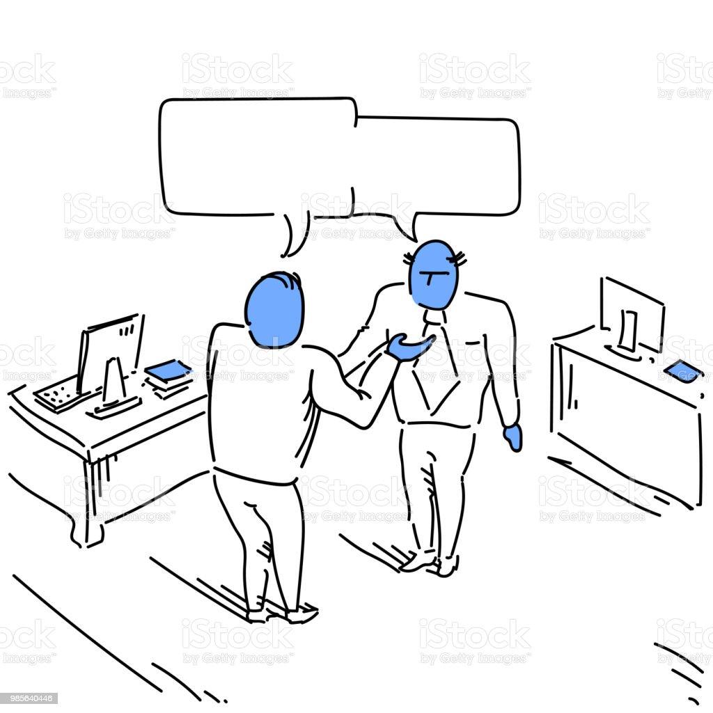 Two businessman talking combined chat box bubble communication...