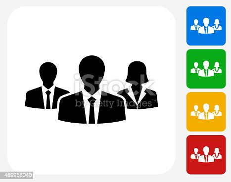 Two Businessmen and One Businesswoman Icon. This 100% royalty free vector illustration features the main icon pictured in black inside a white square. The alternative color options in blue, green, yellow and red are on the right of the icon and are arranged in a vertical column.