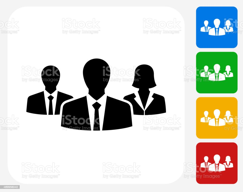 Two Businessmen and One Businesswoman Icon Flat Graphic Design vector art illustration