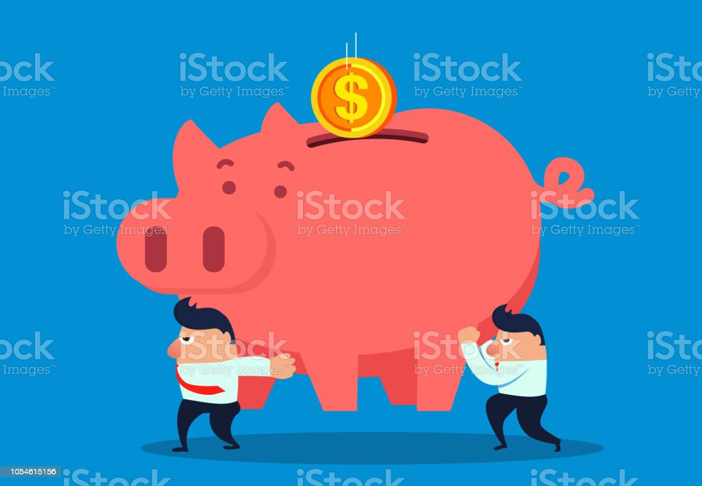 Two businessmen carry a piggy bank to catch the falling gold coins vector art illustration