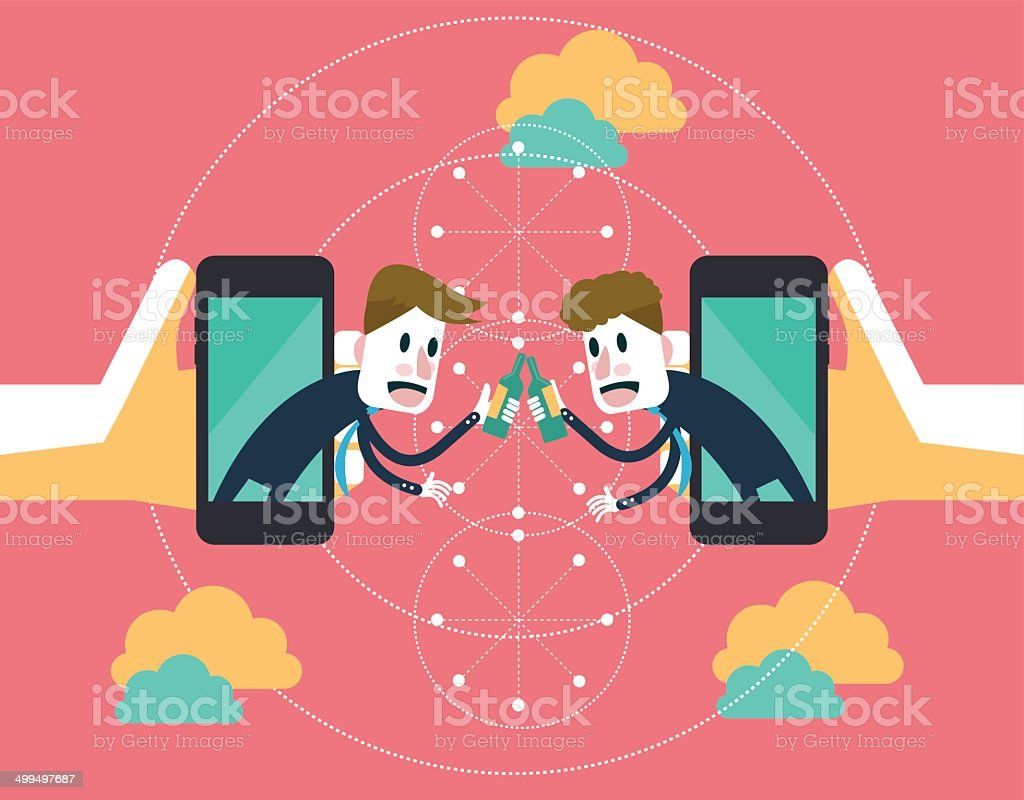 Two businessmen clink glasses on mobile cloud. vector art illustration