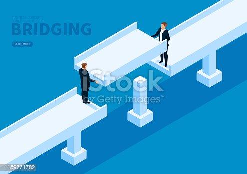 Two businessmen collaborate to build a bridge