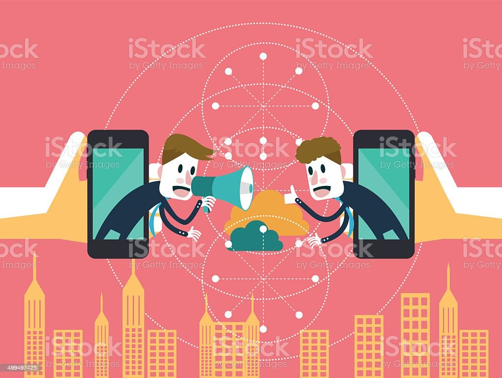 Two businessmen communicate on mobile cloud. vector art illustration