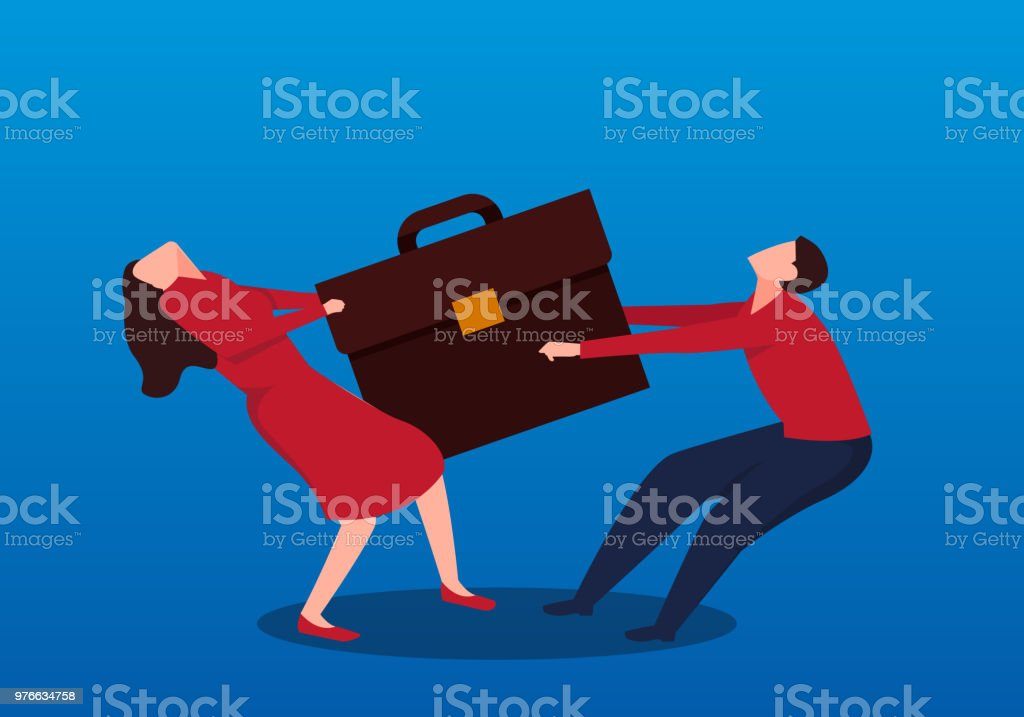 Two businessmen compete for a briefcase vector art illustration