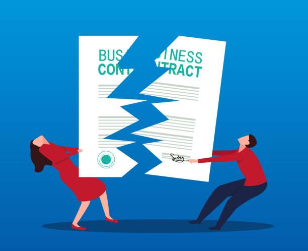 illustrazioni stock, clip art, cartoni animati e icone di tendenza di two businessmen compete for and tear up the contract - divorzio