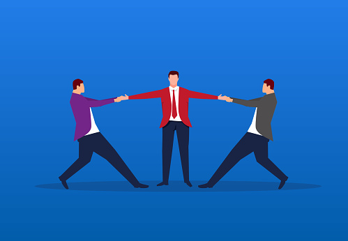 Two businessmen compete for one person at the same time