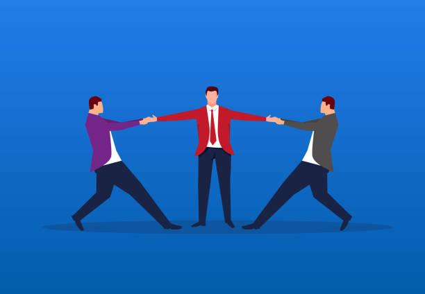 stockillustraties, clipart, cartoons en iconen met twee zakenlieden concurreren voor één persoon tegelijkertijd - conflict