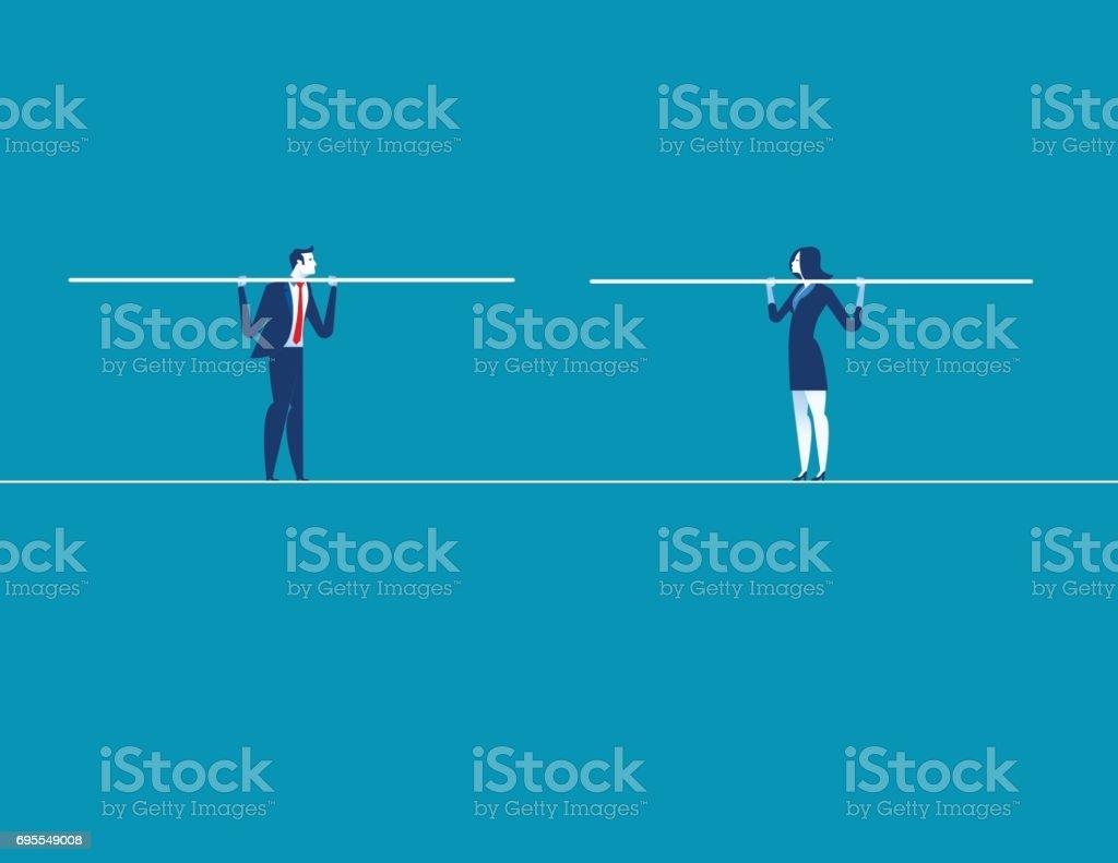 兩個商人彙聚走鋼絲。概念商業向量插畫。向量藝術插圖