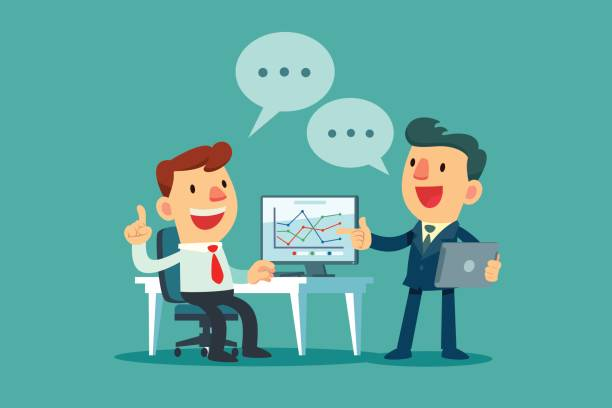 zwei Geschäftsleute diskutieren Geschäftsstrategie – Vektorgrafik