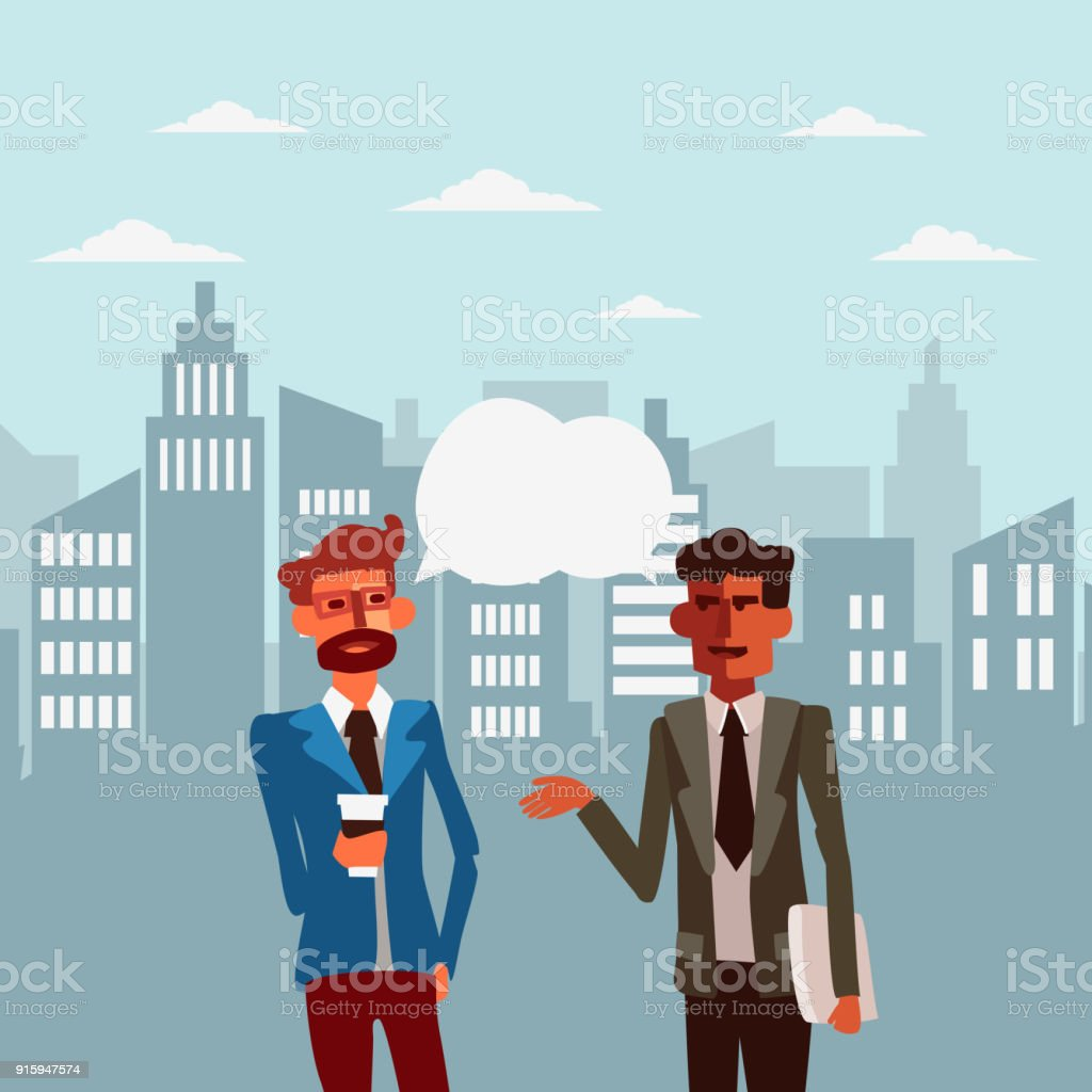 Two businessmen discussing in a city street vector art illustration