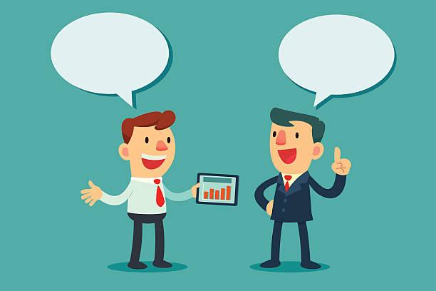 Zwei Geschäftsleute diskutieren – Vektorgrafik