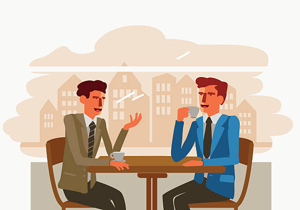 two businessmen drinking coffee and talking in a cafe - two people talking stock illustrations, clip art, cartoons, & icons