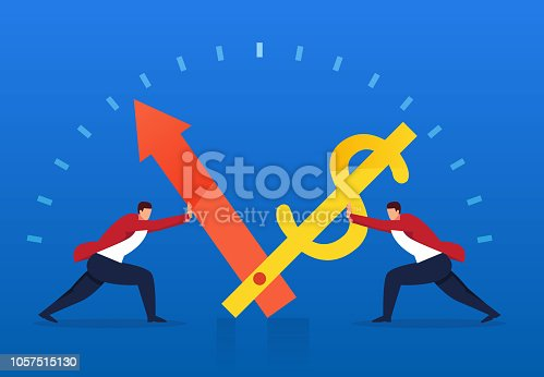 614338352istockphoto Two businessmen drive the operation of time and money 1057515130