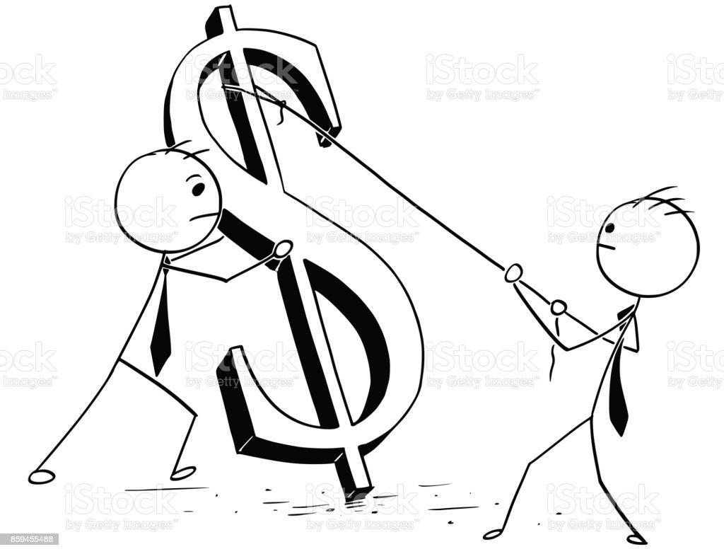Two Businessmen Erecting Large Dollar Sign vector art illustration