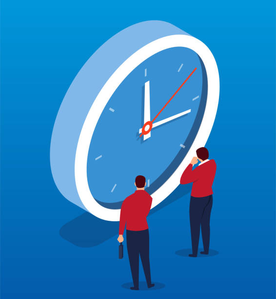 Two businessmen face the clock Two businessmen face the clock waiting stock illustrations