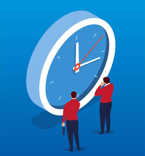ilustrações, clipart, desenhos animados e ícones de dois empresários enfrentam o relógio - esperar