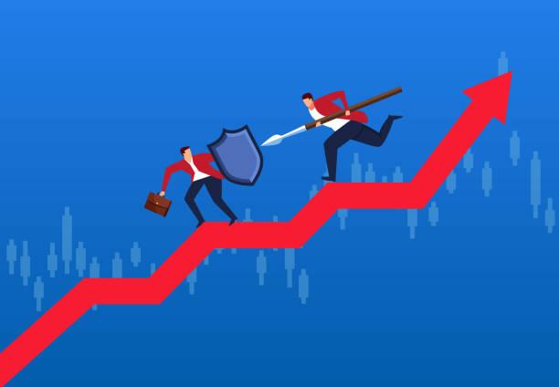zwei geschäftsleute kämpfen auf pfeile, finanzielle handelskrieg und aktienmarkt-analyse - abwehr stock-grafiken, -clipart, -cartoons und -symbole