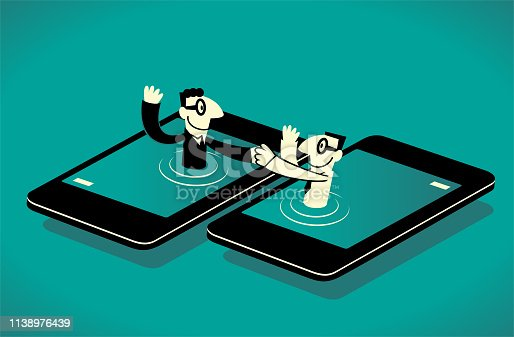 Business Man Characters with Glasses Manga Style Cartoon Vector art illustration.Copy Space, Full Length. Two businessmen from smart phone giving a handshake to each another.