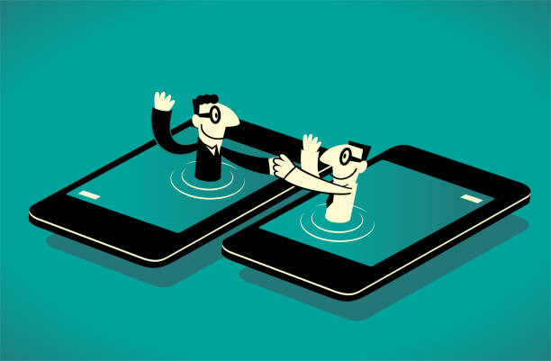 Two businessmen from smart phone giving a handshake to each another vector art illustration