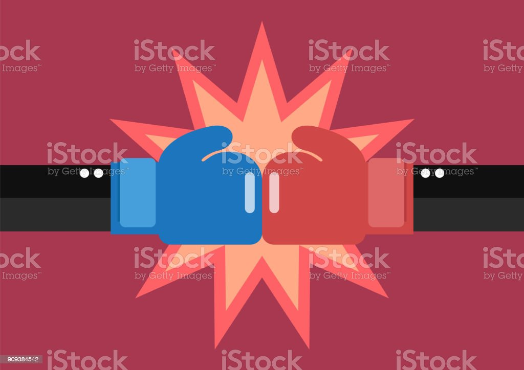Two businessmen hand with boxing gloves fighting vector art illustration