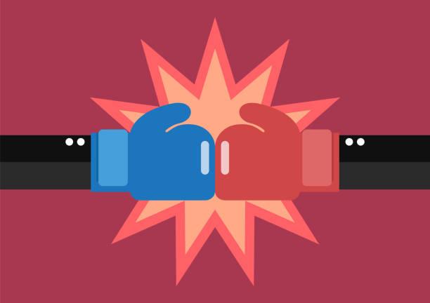 兩個生意人手拳擊手套戰鬥 - 競技運動 幅插畫檔、美工圖案、卡通及圖標