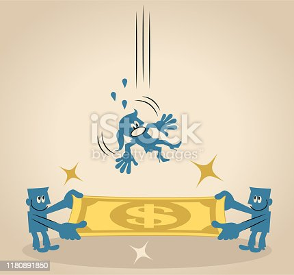 Blue Little Guy Characters Full Length Vector Art Illustration. Two businessmen holding paper currency as a safety net to rescue a falling woman (jump to safety).