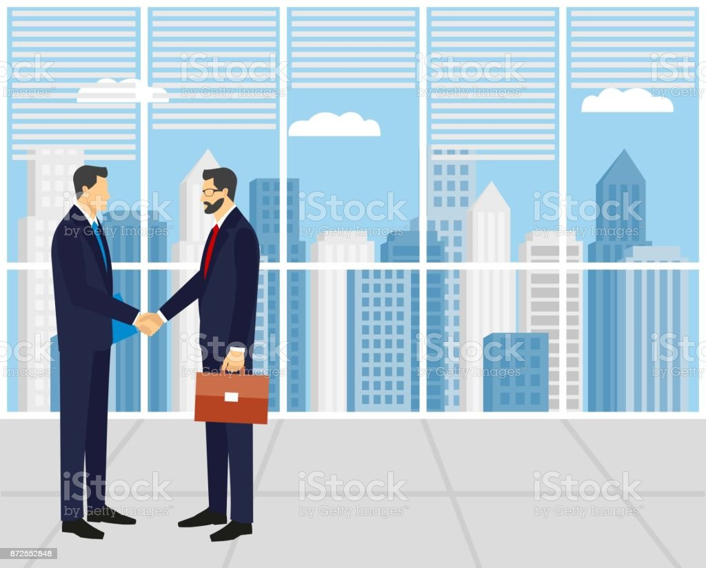 Two businessmen in suits shaking hands. vector art illustration