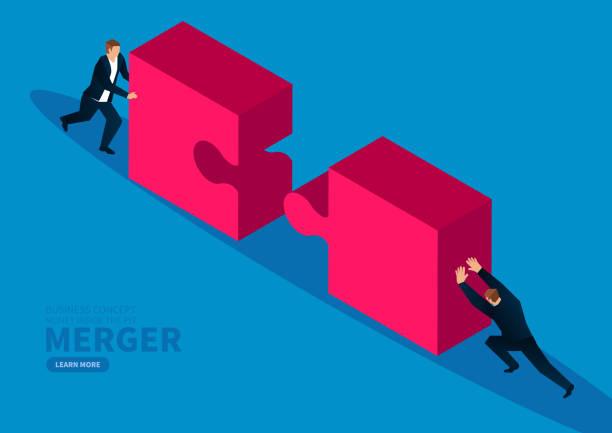 Zwei Geschäftsleute schieben Rätsel zusammen – Vektorgrafik