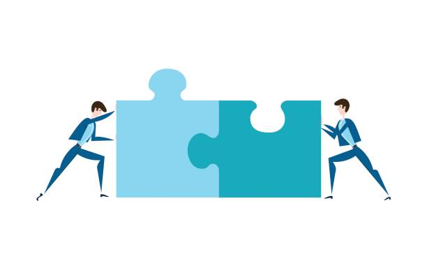 two businessmen pushing the pieces of puzzles. the concept of joint problem solving, teamwork, cooperation. vector illustration, isolated on white. - communication problems stock illustrations, clip art, cartoons, & icons