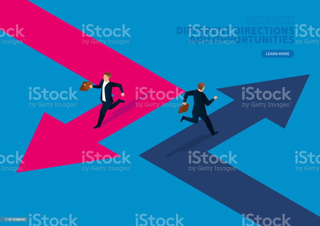Two businessmen run in different directions