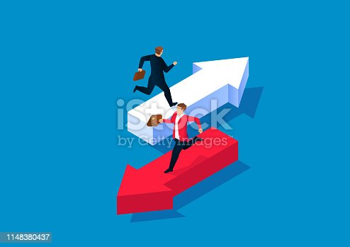 Two businessmen running on arrows in different directions