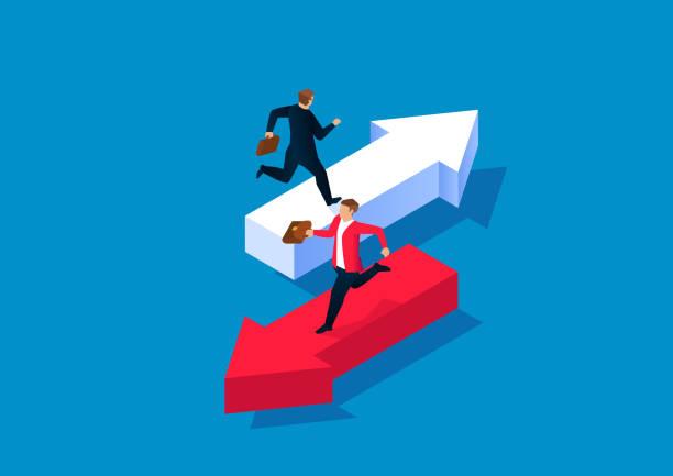 stockillustraties, clipart, cartoons en iconen met twee zakenlieden die op pijlen in verschillende richtingen lopen - conflict