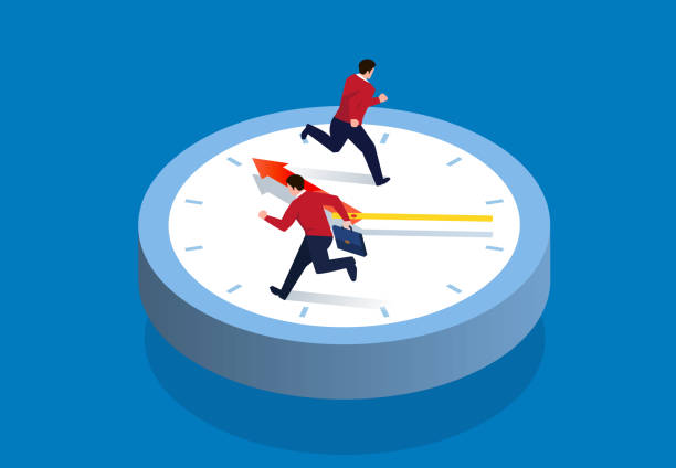 Two businessmen running on the clock Two businessmen running on the clock overworked stock illustrations