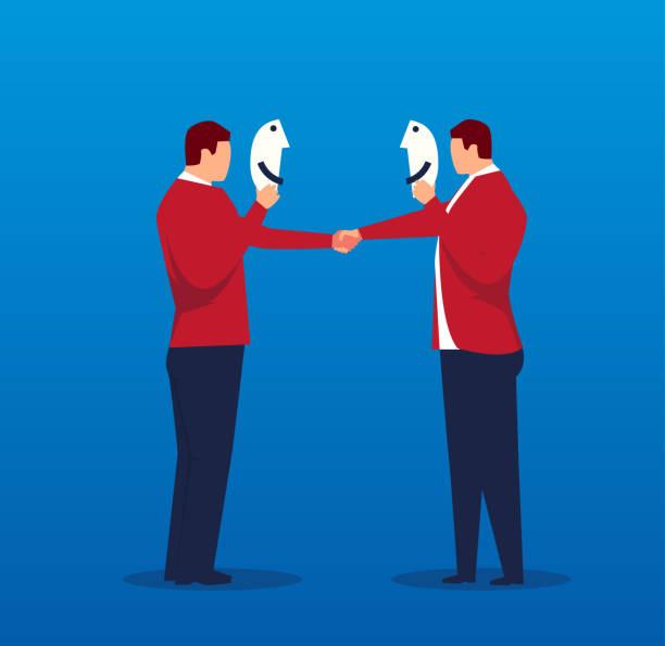 zwei geschäftsleute händeschütteln mit masken - vertrauensbruch stock-grafiken, -clipart, -cartoons und -symbole