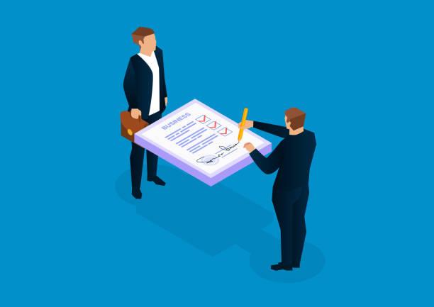 ilustrações, clipart, desenhos animados e ícones de dois homens de negócios que assinam originais - empréstimo