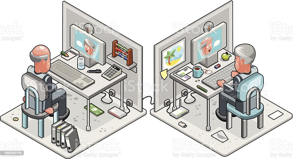 Two businessmen sitting at computers in a web camera conference vector art illustration
