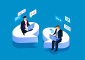 istock Two businessmen sitting on a speech bubble communicating 1194405180