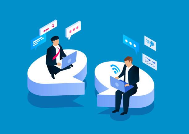 スピーチバブルの上に座ってコミュニケーションをとる2人のビジネスマン - アイソメトリック点のイラスト素材/クリップアート素材/マンガ素材/アイコン素材