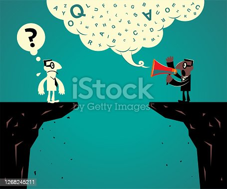 Business characters vector art illustration full length. Two businessmen stand at the edge of the cliff and have communication problems. Is your communication accuracy?