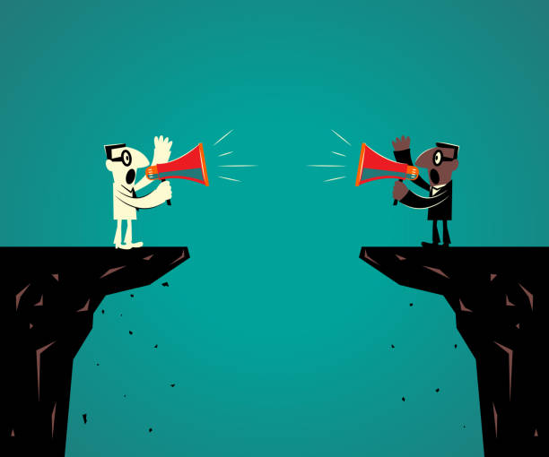 Two businessmen standing at the edge of the cliff and discussing with megaphone vector art illustration