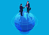 Two businessmen standing on top of the earth shaking hands, global business cooperation