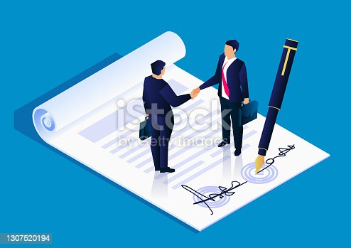 istock Two businessmen successfully signed a project cooperation agreement contract, business concept illustration 1307520194