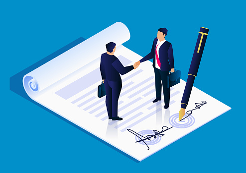 Two businessmen successfully signed a project cooperation agreement contract, business concept illustration