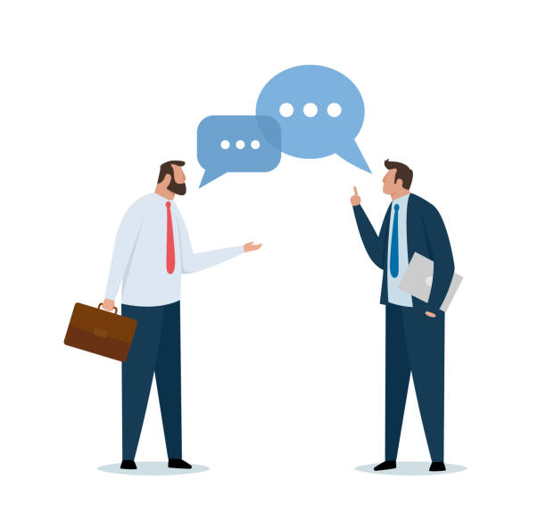Two businessmen talking and discussing. Speech bubble. vector art illustration