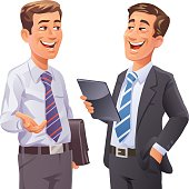 Vector illustration of two cheerful businessmen having a conversation. One is holding a briefcase, the other one a tablet computer.