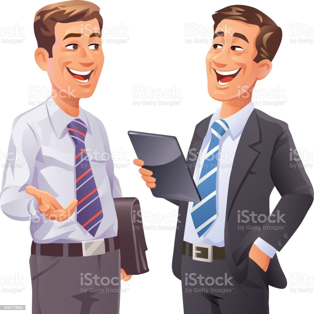 Two Businessmen Talking vector art illustration