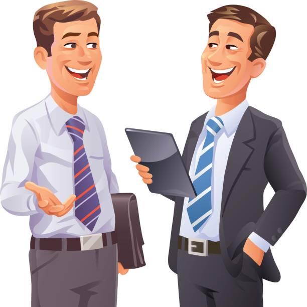 ilustrações de stock, clip art, desenhos animados e ícones de two businessmen talking - homem casual standing sorrir