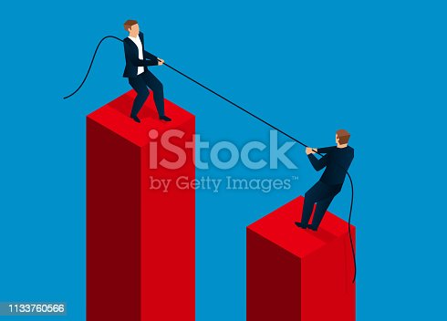 Two businessmen tug of war at high altitude