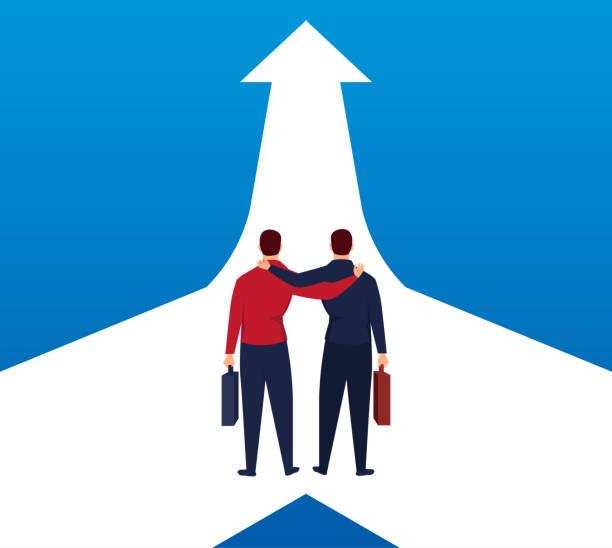 illustrazioni stock, clip art, cartoni animati e icone di tendenza di two businessmen walk side by side to one arrow - near